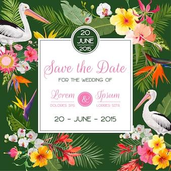 Salve o cartão de data com flores e pássaros