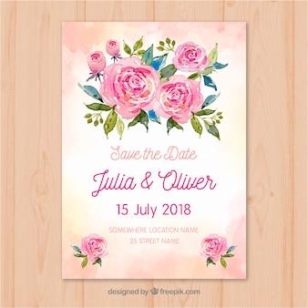 Salve o cartão de data com flores em estilo aquarela