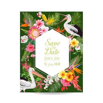 Salve o cartão de data com flores exóticas e pássaros