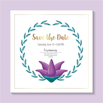 Salve o cartão de data com flores roxas e folhagem