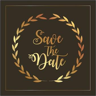 Salve o cartão de data com folhagem dourada e letras