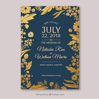 Salve o cartão de data com lindas flores