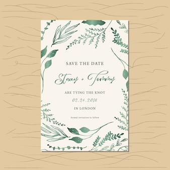Salve o cartão de data com moldura de folhagem metálica verde