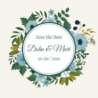 Salve o cartão de decoração de flor de data