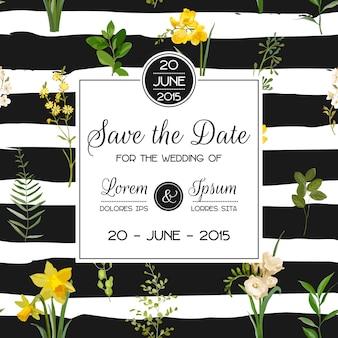 Salve o cartão floral de verão e primavera data em estilo aquarela. flores de campo vintage de vetor