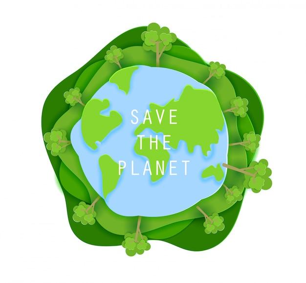 Salve o cartaz do conceito de planeta em estilo de origami de arte de papel. design de corte de papel de ilustração. terra verde redondo sinal