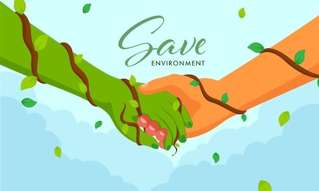 Salve o conceito de ambiente com o aperto de mão entre a mão humana e verde sobre fundo azul.