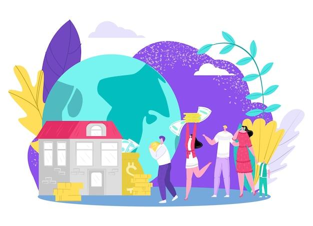 Salve o conceito de dinheiro, ilustração vetorial. investimento em casa, personagem homem mulher pessoas carregam dinheiro em espécie para o banco. economize finanças em casa, propriedade, investimento bancário plano perto do símbolo do planeta enorme.