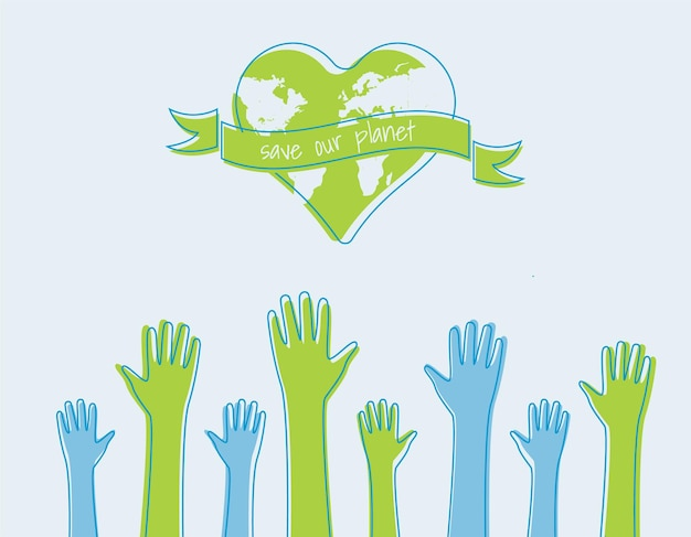 Salve o conceito de ecologia mundial. silhuetas de mãos levantadas adequado para cartazes, folhetos, banners para ilustração vetorial do dia da terra, isolado no fundo
