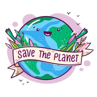 Salve o conceito de planeta com a terra