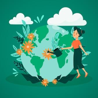 Salve o conceito de planeta com mulher molhando a terra