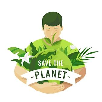 Salve o conceito de planeta com o homem segurando a terra