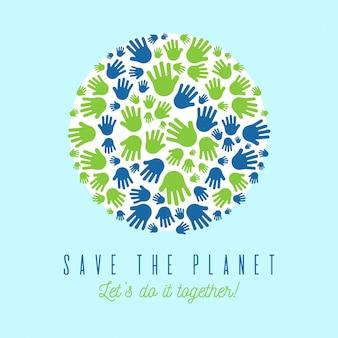 Salve o conceito de planeta com palm print como terra