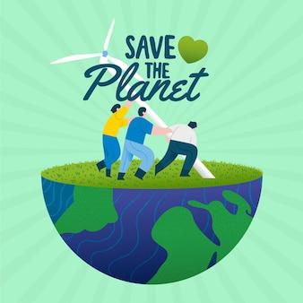 Salve o conceito de planeta com pessoas construindo turbinas eólicas