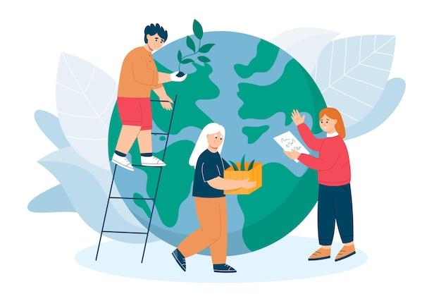 Salve o conceito de planeta com pessoas e globo