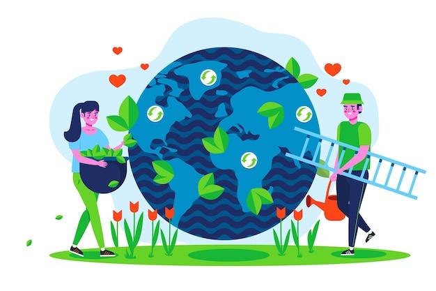 Salve o conceito de planeta com pessoas e terra