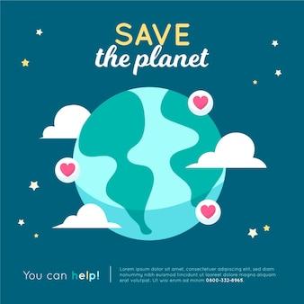 Salve o conceito de planeta com terra e corações