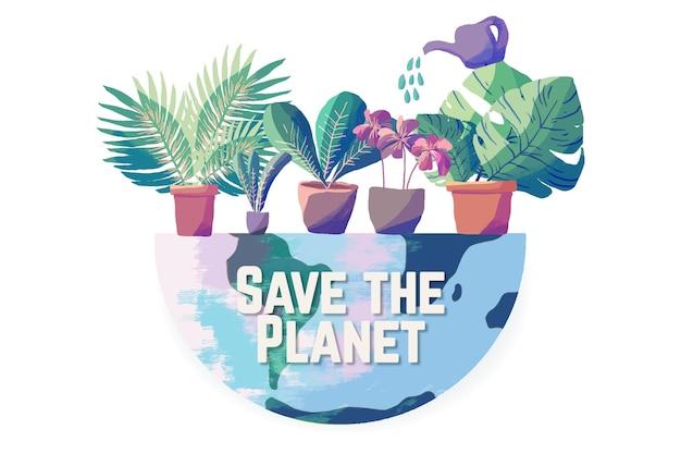 Salve o conceito de planeta ilustrado