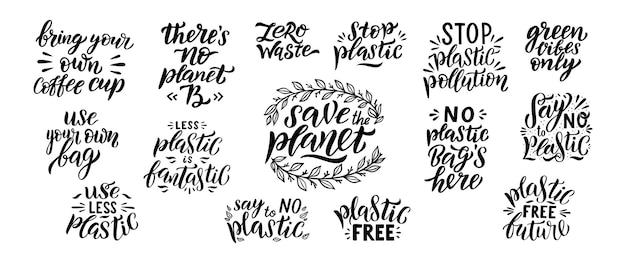 Salve o conjunto de letras do planeta mão desenhada.