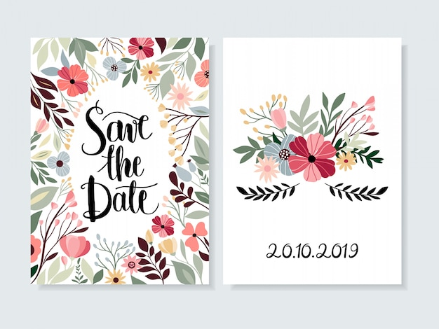 Salve o convite de data com letras florais e mão