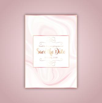 Salve o convite de data com textura de mármore rosa