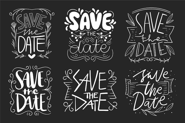 Salve o desenho de letras de data