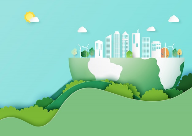 Salve o estilo de arte de papel de conceito terra e eco cidade