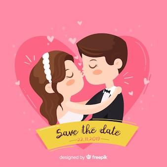 Salve o fundo rosa data com casal fofo