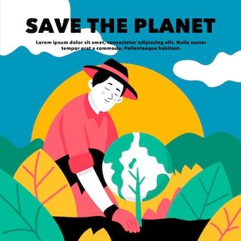 Salve o homem do conceito de planeta plantando a terra