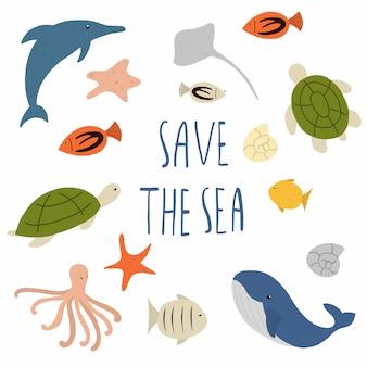 Salve o mar e animais marinhos