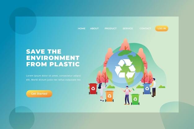 Salve o meio ambiente do plástico - página de destino do vetor