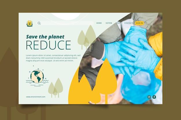 Salve o modelo da página de destino do ambiente do planeta