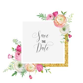 Salve o modelo de cartão de data com moldura de brilho dourado e flores cor de rosa. convite de casamento, saudação com ornamento floral. ilustração vetorial