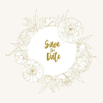 Salve o modelo de cartão de data decorado com moldura circular, borda ou grinalda feita de flores de jardim desabrochando e folhas desenhadas à mão com linhas de contorno. ilustração botânica monocromática.