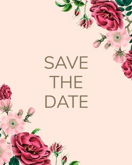 Salve o modelo de convite de casamento de data