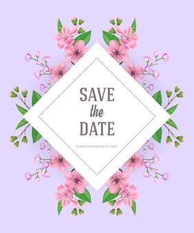 Salve o modelo de data com flores cor de rosa e roxas. texto manuscrito, caligrafia.
