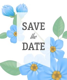 Salve o modelo de data com flores de prímula azul sobre fundo branco com moldura transparente