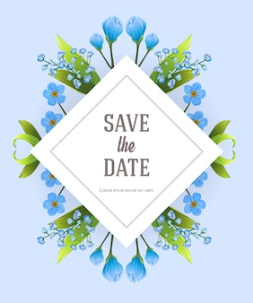 Salve o modelo de data com flores de prímula azul. texto manuscrito, caligrafia.