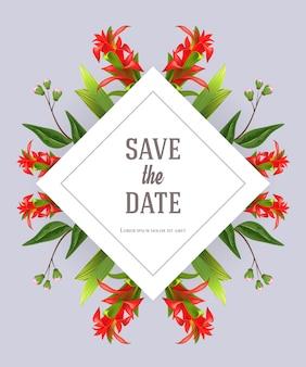 Salve o modelo de data com o tipo de flor vermelho sobre fundo cinza. texto manuscrito, caligrafia.