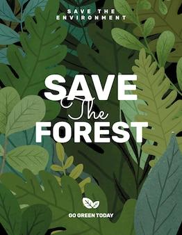 Salve o modelo editável do flyer da floresta