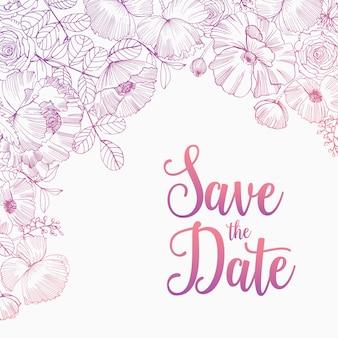 Salve o modelo quadrado de cartão de data decorado com elegantes flores de jardim desabrochando, inflorescências, folhas e botões desenhados à mão com linhas de contorno rosa sobre fundo branco. ilustração natural.