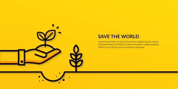 Salve o mundo com a mão segurando a planta, bandeira de ecologia plana natureza