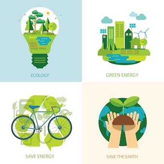 Salve o mundo e conceito de energia limpa