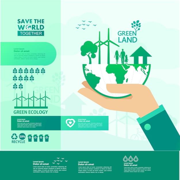 Salve o mundo junto com a ecologia verde.