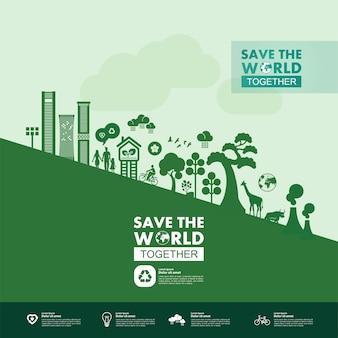 Salve o mundo juntos ilustração de ecologia verde.