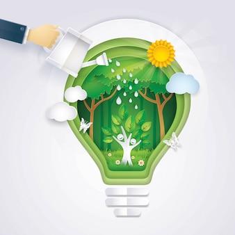 Salve o mundo, mão do ícone de árvore de rega de empresário levantando-se no ícone de lâmpada de cor de backg
