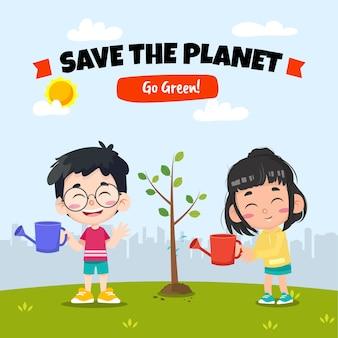 Salve o planeta com ilustração de plantio de árvores