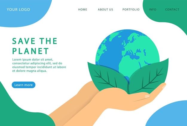 Salve o planeta. ecologia saudável. página de destino. páginas da web modernas para sites da web.
