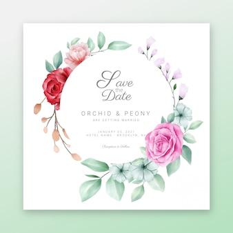 Salve o quadro floral data com belo quadro floral em aquarela