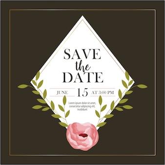 Salve o rótulo de data com flores cor de rosa e folhas